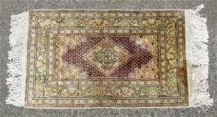 Carpet  Rug  An antique Turkish Silk  Prayer Rug