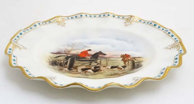 A Royal Crown Derby hand painted hunting scene fluted - 4