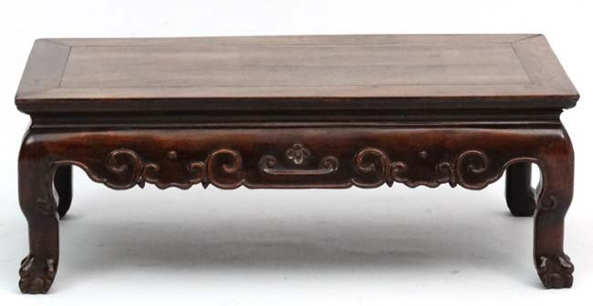 A late 19th Century Chinese hardwood low Table with - 3