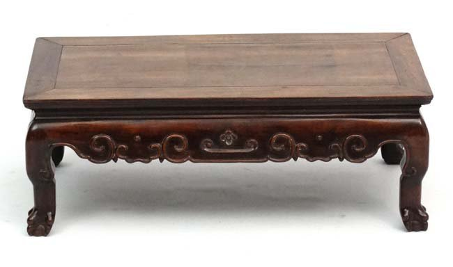 A late 19th Century Chinese hardwood low Table with - 4