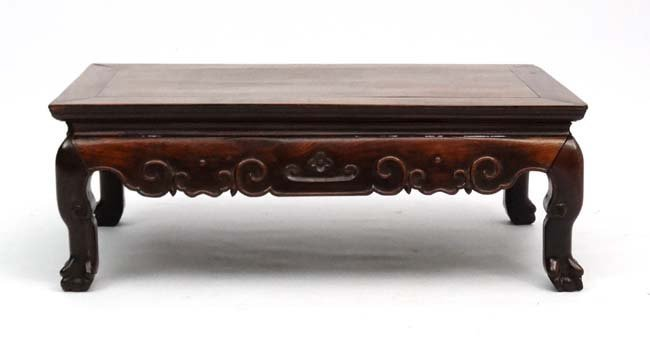 A late 19th Century Chinese hardwood low Table with - 8