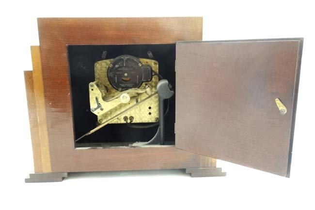 Art Deco mantle Clock : a musical mahogany cased, - 10