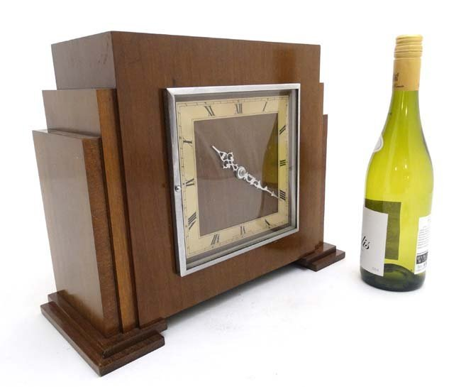 Art Deco mantle Clock : a musical mahogany cased,