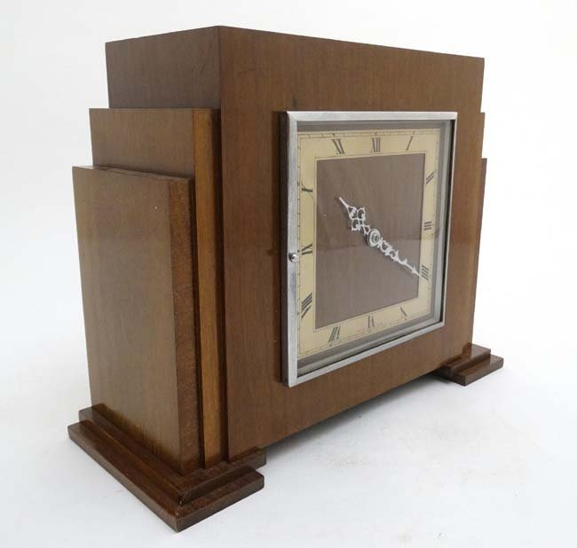Art Deco mantle Clock : a musical mahogany cased, - 3