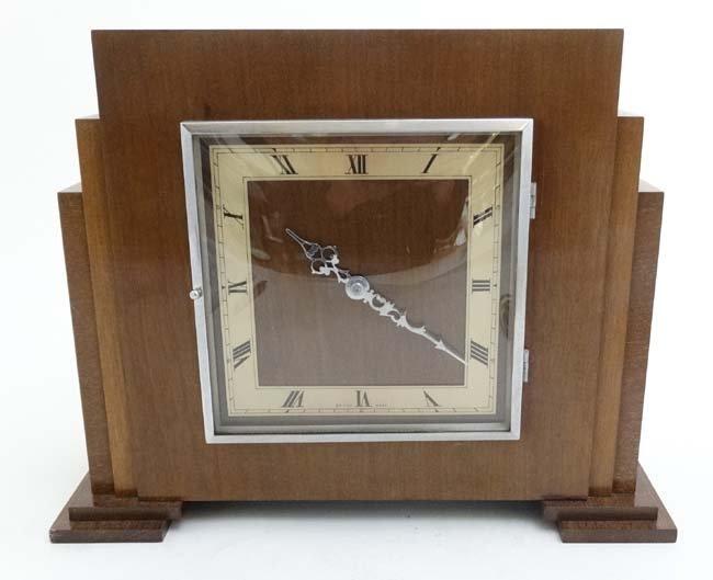 Art Deco mantle Clock : a musical mahogany cased, - 4