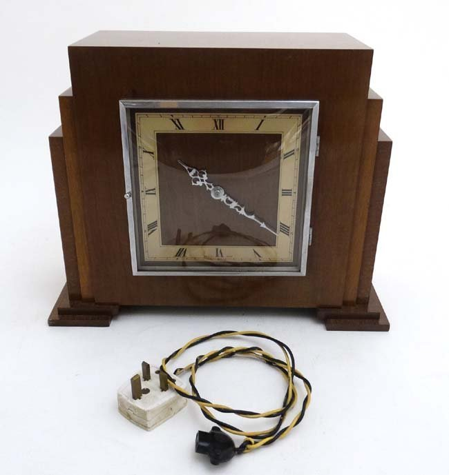 Art Deco mantle Clock : a musical mahogany cased, - 5