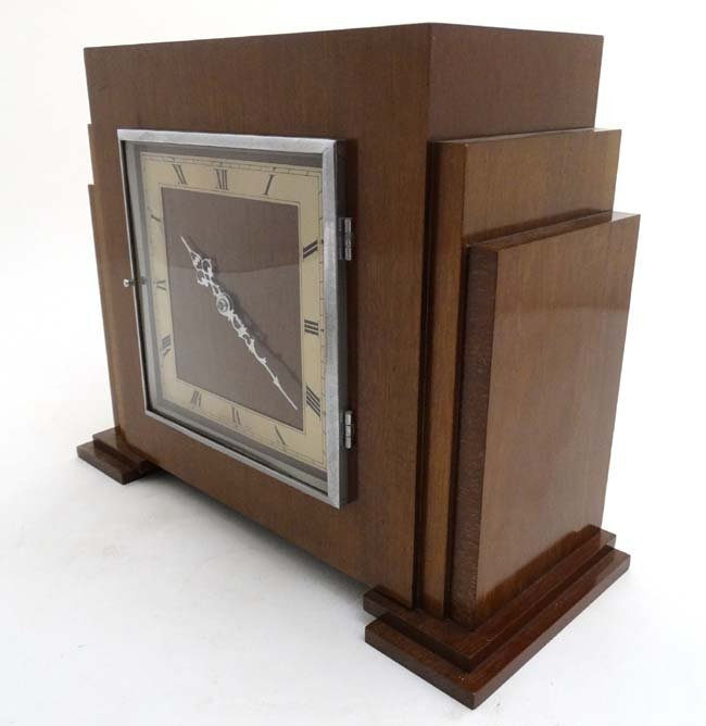 Art Deco mantle Clock : a musical mahogany cased, - 6
