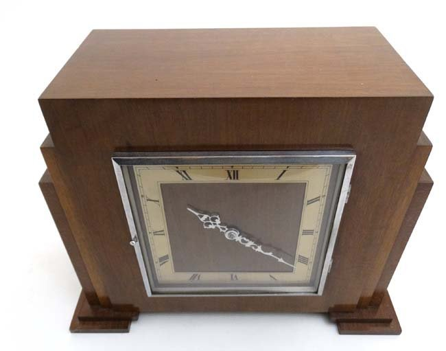 Art Deco mantle Clock : a musical mahogany cased, - 7