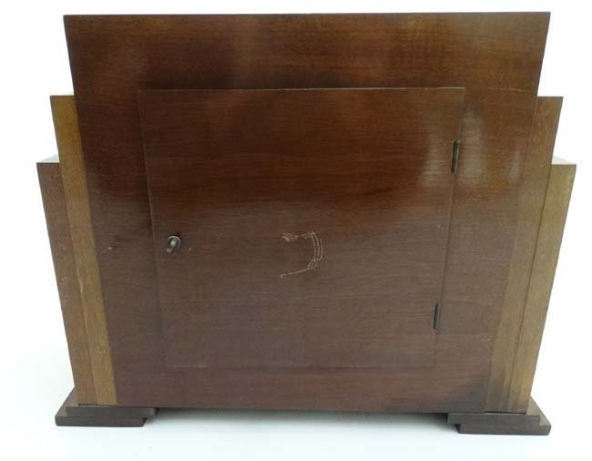 Art Deco mantle Clock : a musical mahogany cased, - 9