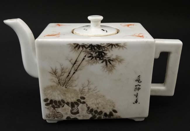 A Chinese square form teapot, decorated to sides with - 3