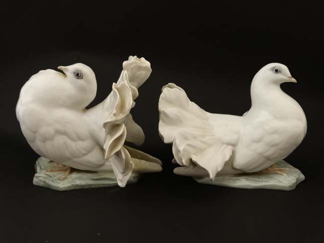 Two Rosenthal , German figure groups of fantail pigeons - 3