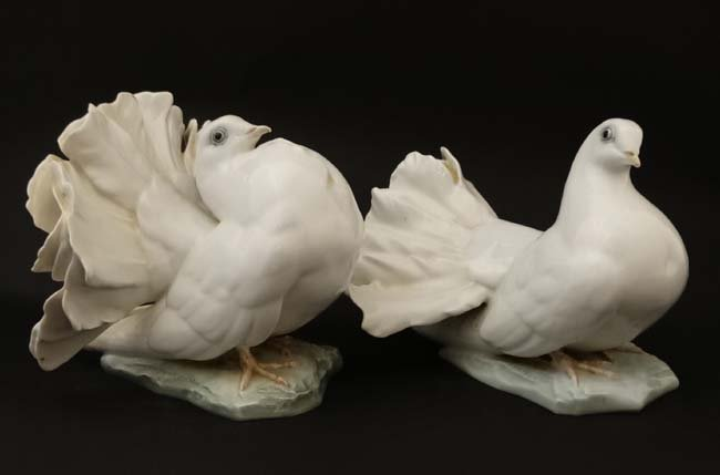 Two Rosenthal , German figure groups of fantail pigeons - 5