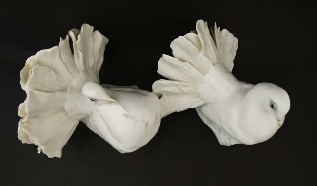 Two Rosenthal , German figure groups of fantail pigeons - 6