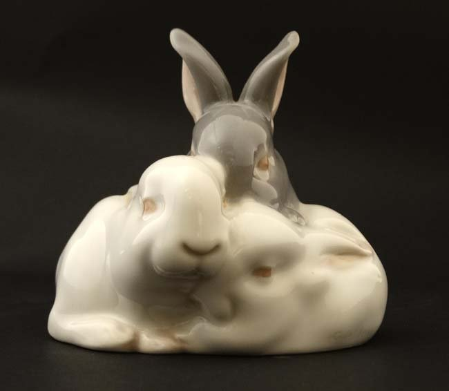 A Royal Copenhagen figure group formed as three rabbits - 4