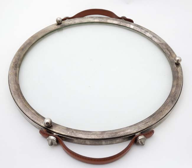 A circular glass tray with silver plate mounts and - 2