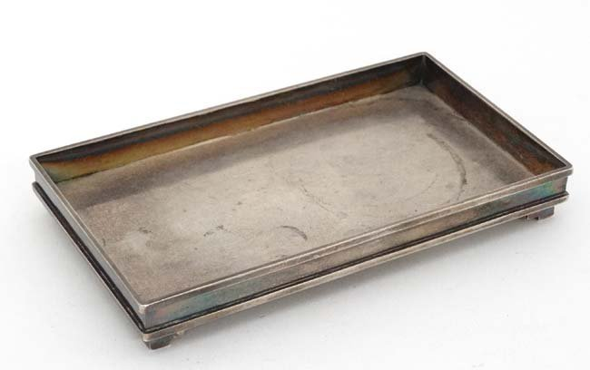 Chinese Export Silver : A small dressing table tray /