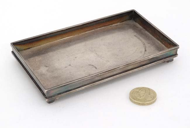 Chinese Export Silver : A small dressing table tray / - 3