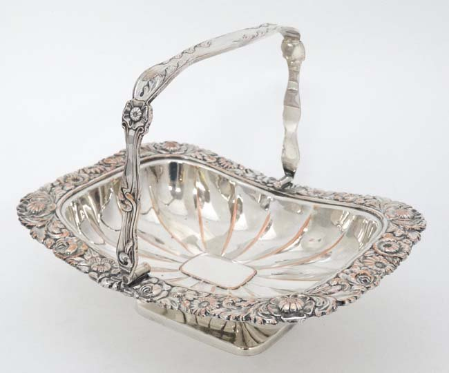 An Old Sheffield plate cake basket with floral