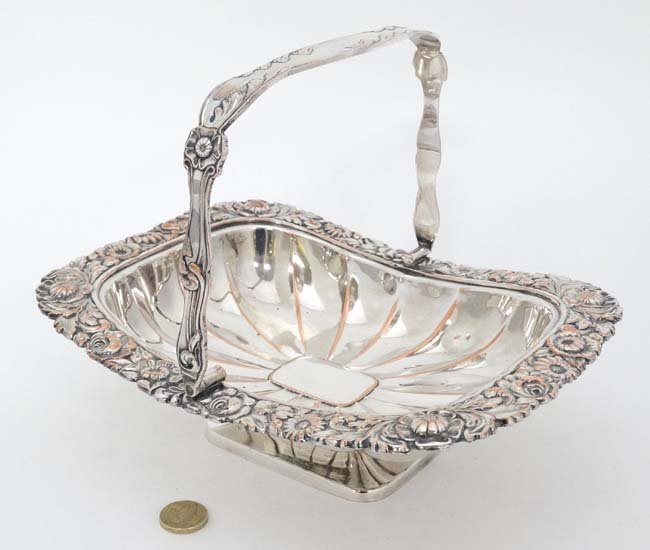 An Old Sheffield plate cake basket with floral - 3