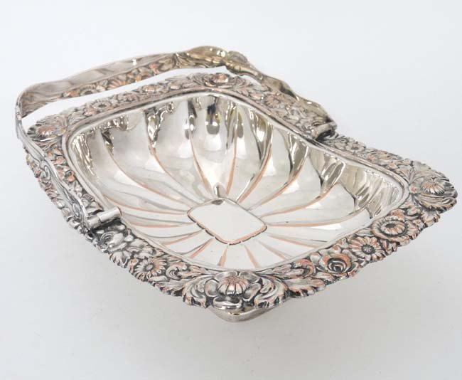 An Old Sheffield plate cake basket with floral - 4