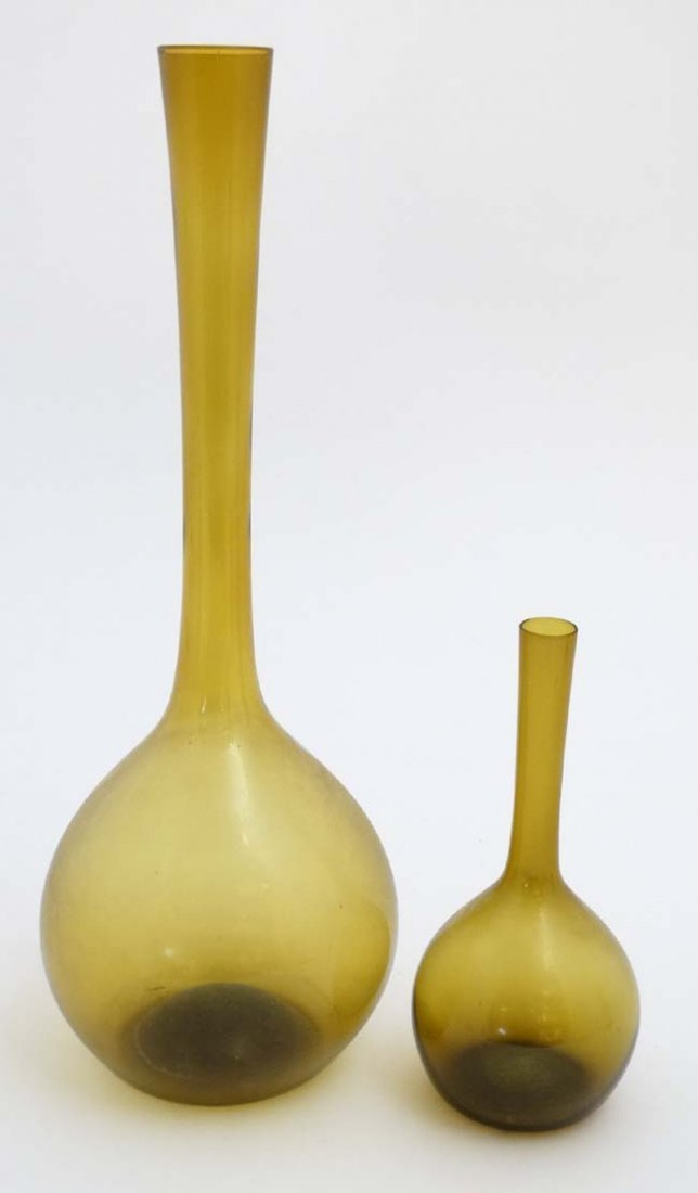 Vintage Retro : Two amber glass vases with long necks.