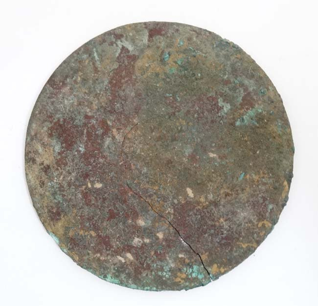 Oriental:  Chinese Bronze Mirror : a disc shaped mirror - 3