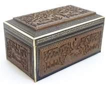 A 19thC Anglo  Indian carved sandalwood and