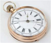 Pocket watch : a 9 K gold cased top wind chronograph
