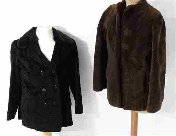 A dark brown vintage beaver lamb fur coat/jacket, 1950s