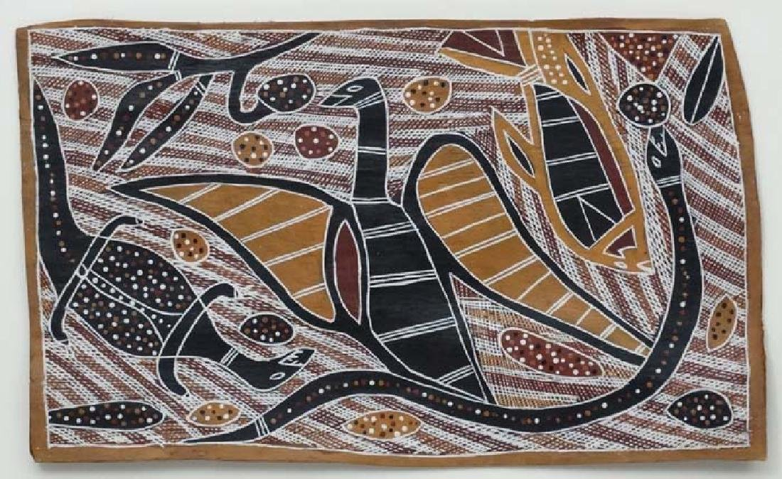 *Australian Aboriginal Art, Dot Bark painting , - 3