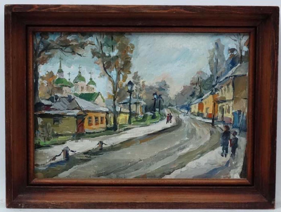L Romanenko XX East European, Oil on canvas c.1979, An