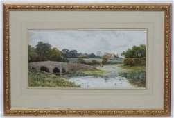 George Oysten RI (1861-1937), Watercolour, Rural river