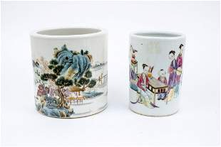 Two Pieces Of Camille Rose Brush Holders: