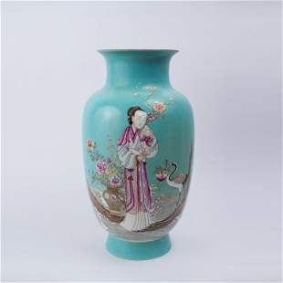 A Rare Turquoise-Ground Enameled 'Fair Lady And Crane'