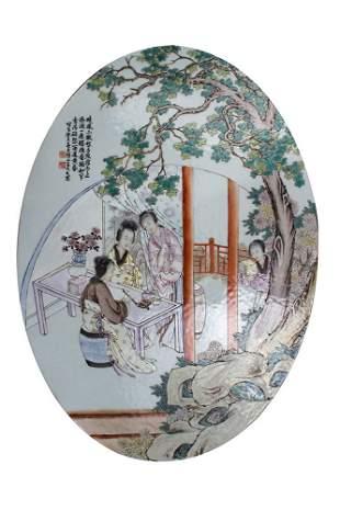 4 Ladies Writing Poems' Porcelain Ceramic Plaque