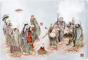 10 Immortals' Rectangle Porcelain Plaque