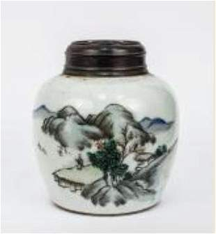 A Famille Rose Mountain Scenery Ginger Jar,