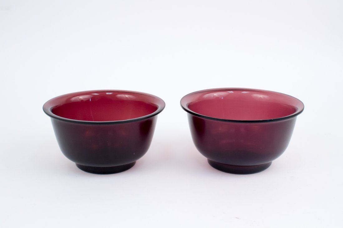 18th Century Pair Of Fine Transparent Purple Peking Gla