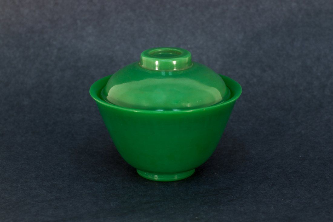 A Fine Solid Green Peking Glass Bowl With Lid, 18th Ce