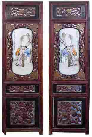 Pair of Era Republic of China Porcelain Panels