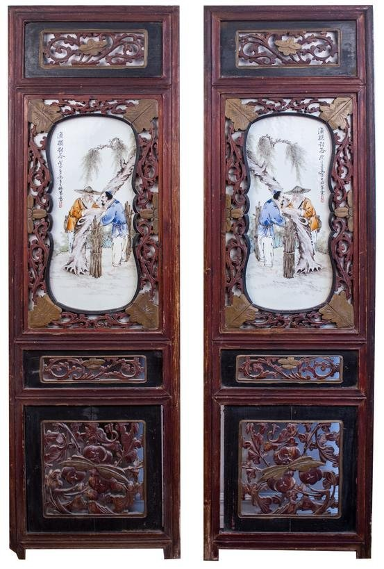 Pair of Era Republic of China Porcelain Panels