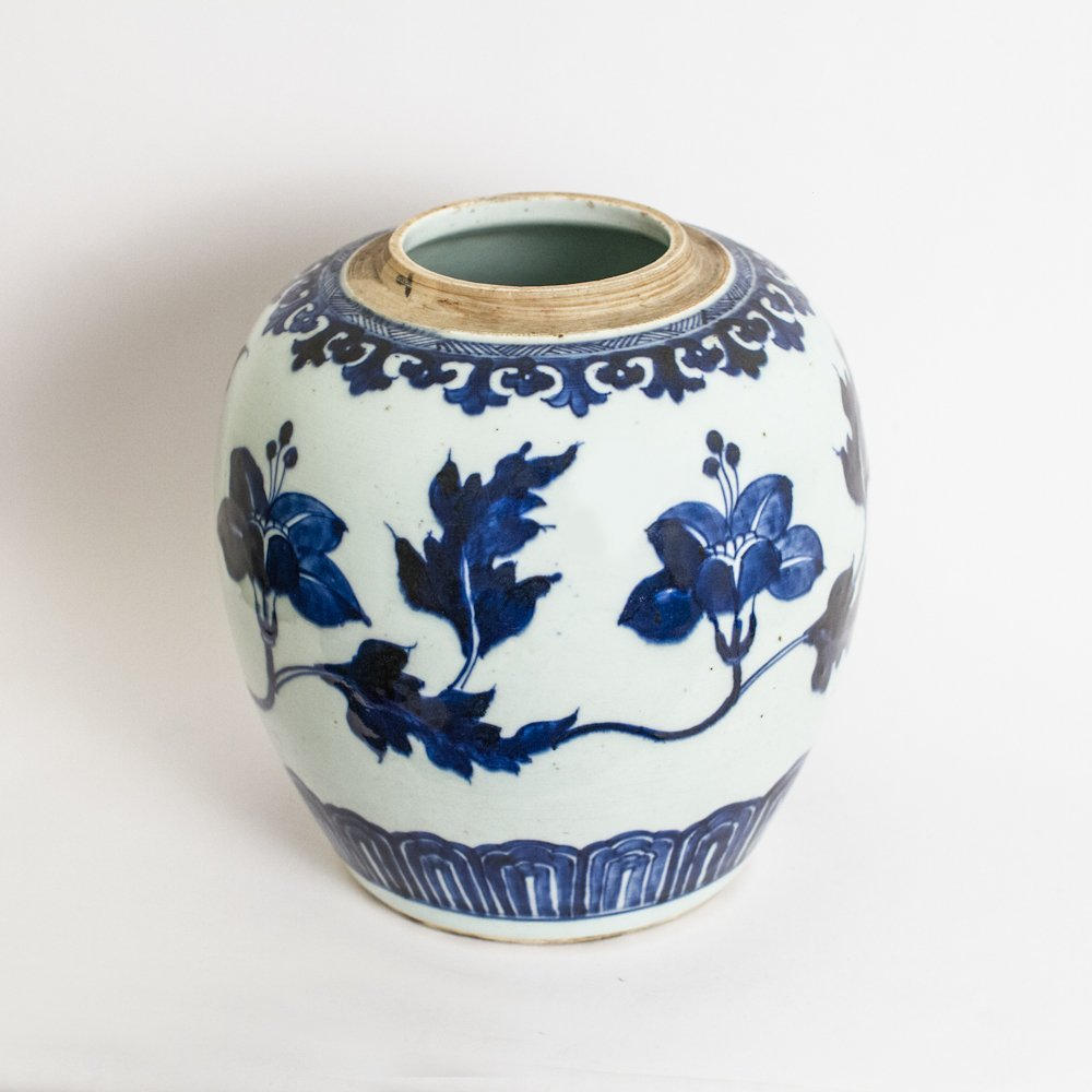 A Blue And White Floral Design Globular Jar, Qing Dynas