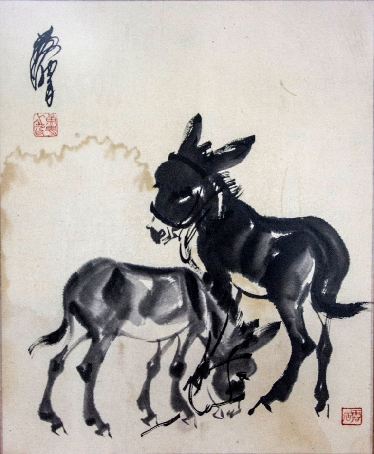 Painting Of Pair Donkey By Huang Zhou.