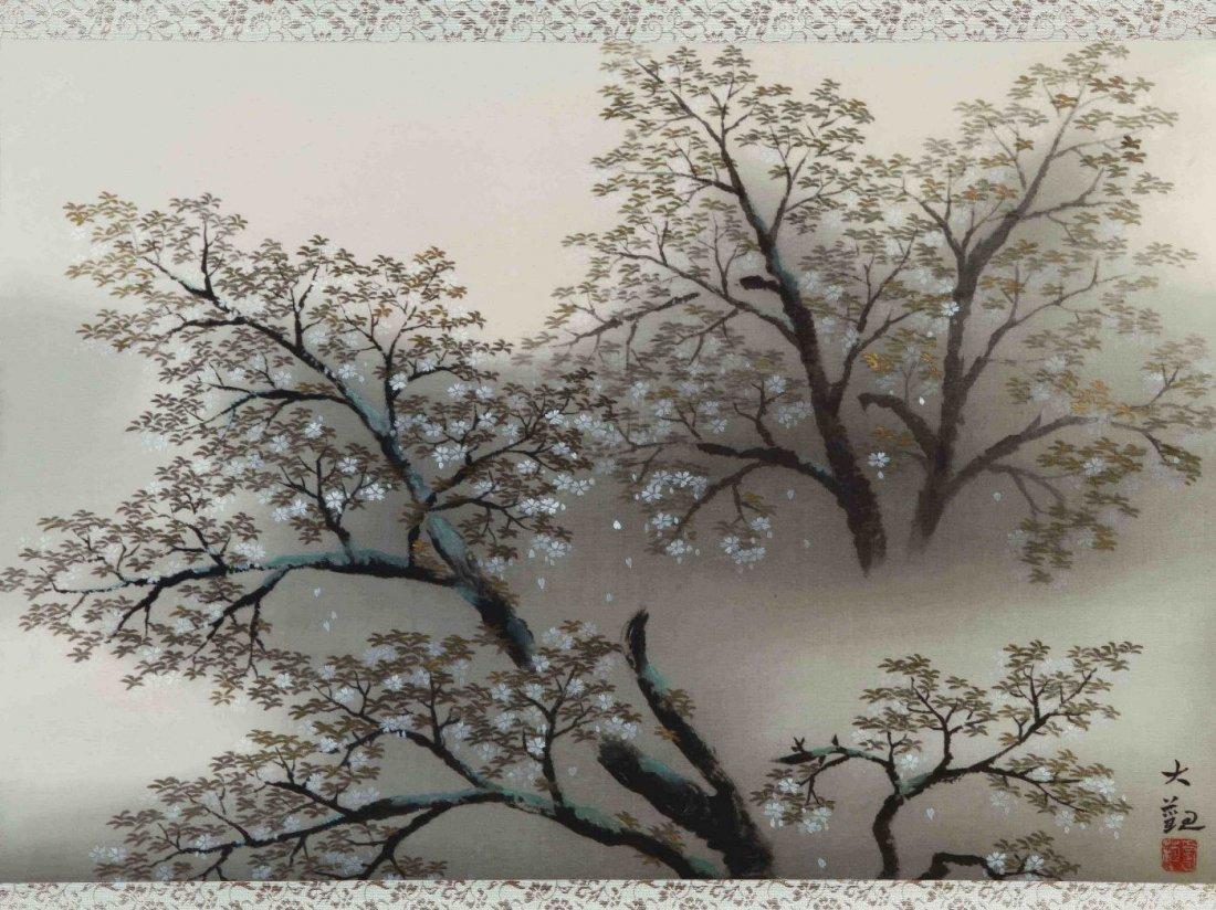 Taikan painting of Cherry Blossoms thru Mist.