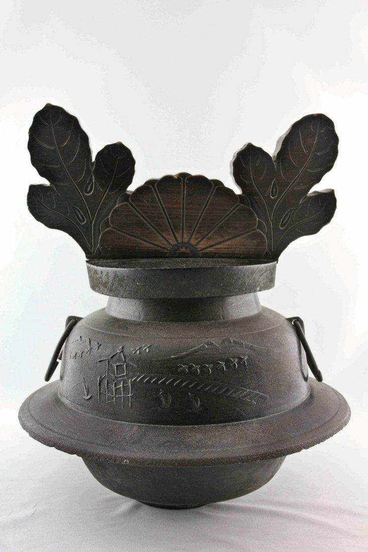 Tetsubin Kama with wooden lid,Kama Cast iron, wooden Li - 2