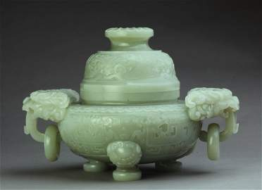 A white jade censer and cover, Qing Dynasty, Qianlong