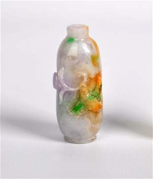 A White Carved Jade Snuff Bottle, Qing Dynasty