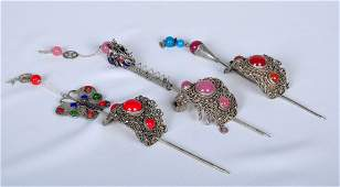 Set of Three Old Tibet Silver Hairpin/ Sticks Clasp