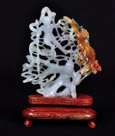 A White Jade Carving  of Two Fairies , Qing Dynasty