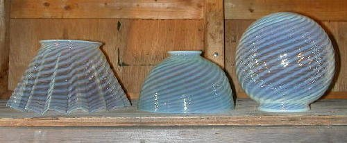 9: Group of   3 Opalescent Blue Gas Shades
